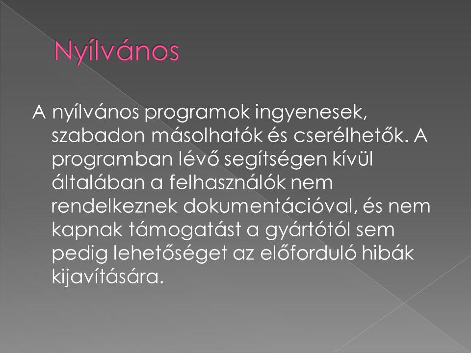 A nyílvános programok ingyenesek, szabadon másolhatók és cserélhetők. A programban lévő segítségen kívül általában a felhasználók nem rendelkeznek dok