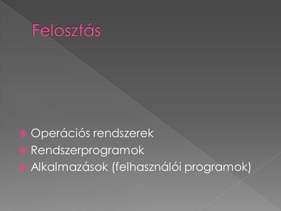  Operációs rendszerek  Rendszerprogramok  Alkalmazások (felhasználói programok)