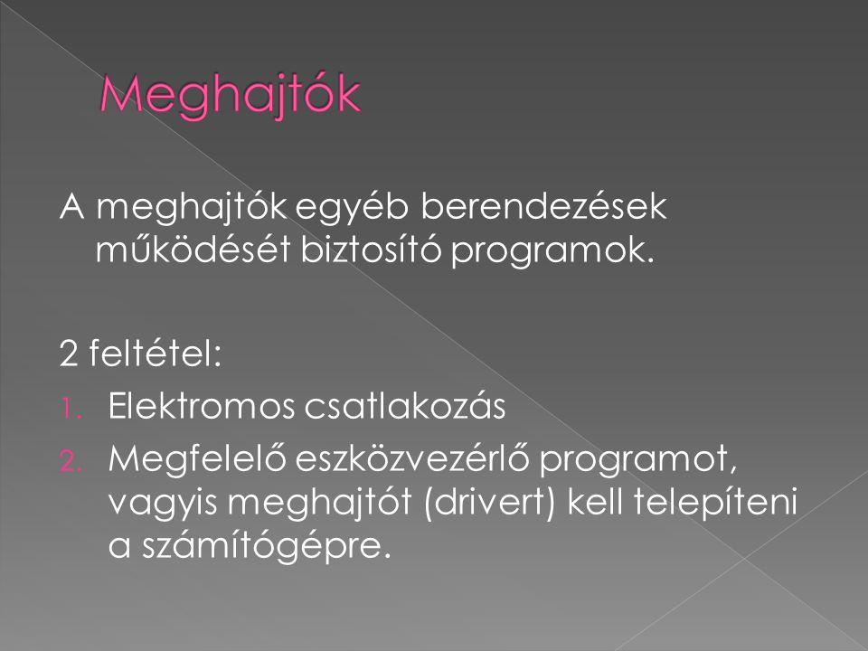 A meghajtók egyéb berendezések működését biztosító programok. 2 feltétel: 1. Elektromos csatlakozás 2. Megfelelő eszközvezérlő programot, vagyis megha