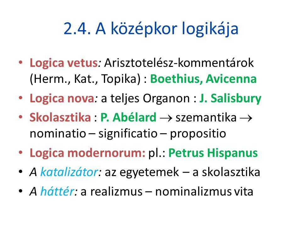 2.4. A középkor logikája • Logica vetus: Arisztotelész-kommentárok (Herm., Kat., Topika) : Boethius, Avicenna • Logica nova: a teljes Organon : J. Sal