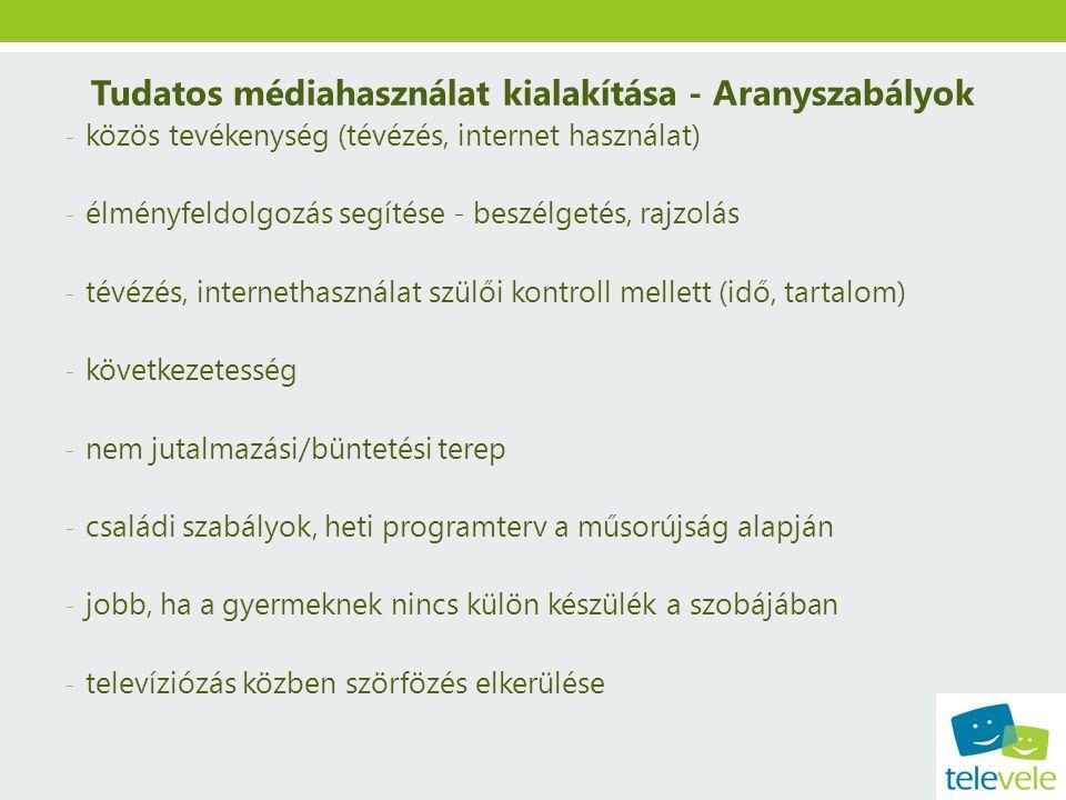 Tudatos médiahasználat kialakítása - Aranyszabályok - közös tevékenység (tévézés, internet használat) - élményfeldolgozás segítése - beszélgetés, rajz
