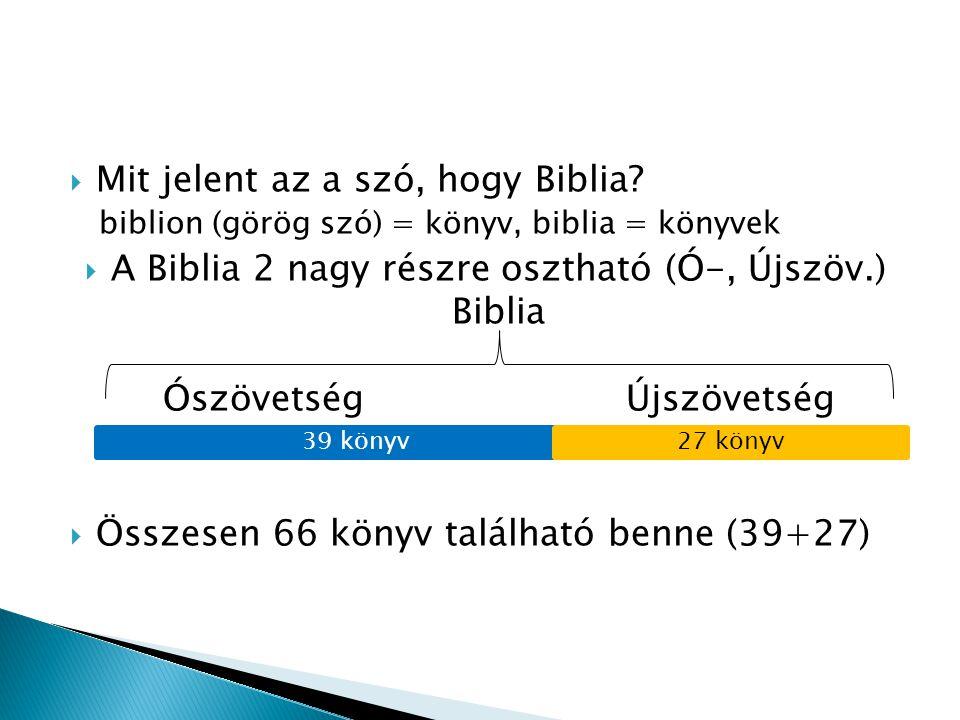  Mit jelent az a szó, hogy Biblia? biblion (görög szó) = könyv, biblia = könyvek  A Biblia 2 nagy részre osztható (Ó-, Újszöv.) Biblia Ószövetség Új