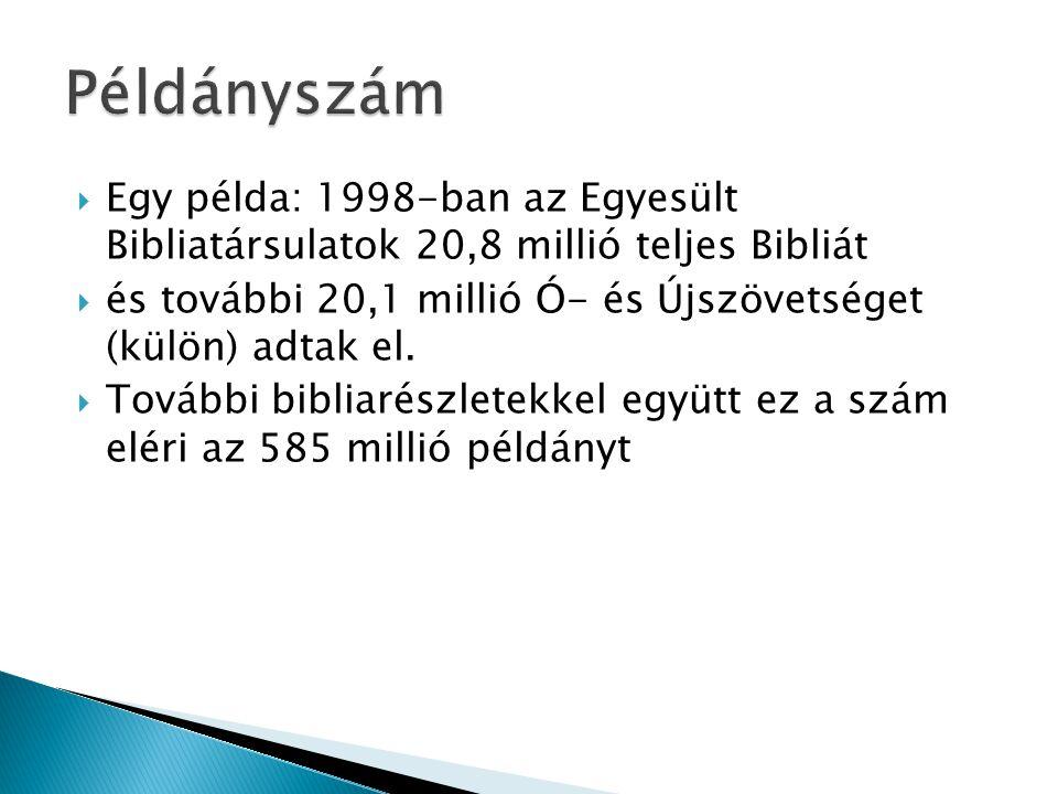  Egy példa: 1998-ban az Egyesült Bibliatársulatok 20,8 millió teljes Bibliát  és további 20,1 millió Ó- és Újszövetséget (külön) adtak el.  További