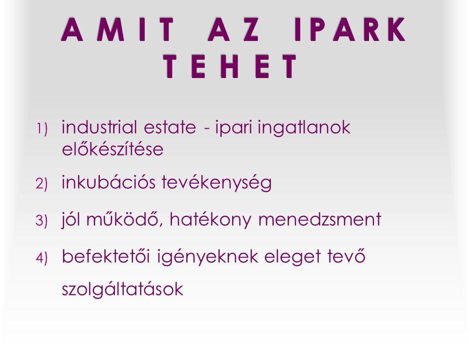 1) industrial estate - ipari ingatlanok előkészítése 2) inkubációs tevékenység 3) jól működő, hatékony menedzsment 4) befektetői igényeknek eleget tevő szolgáltatások