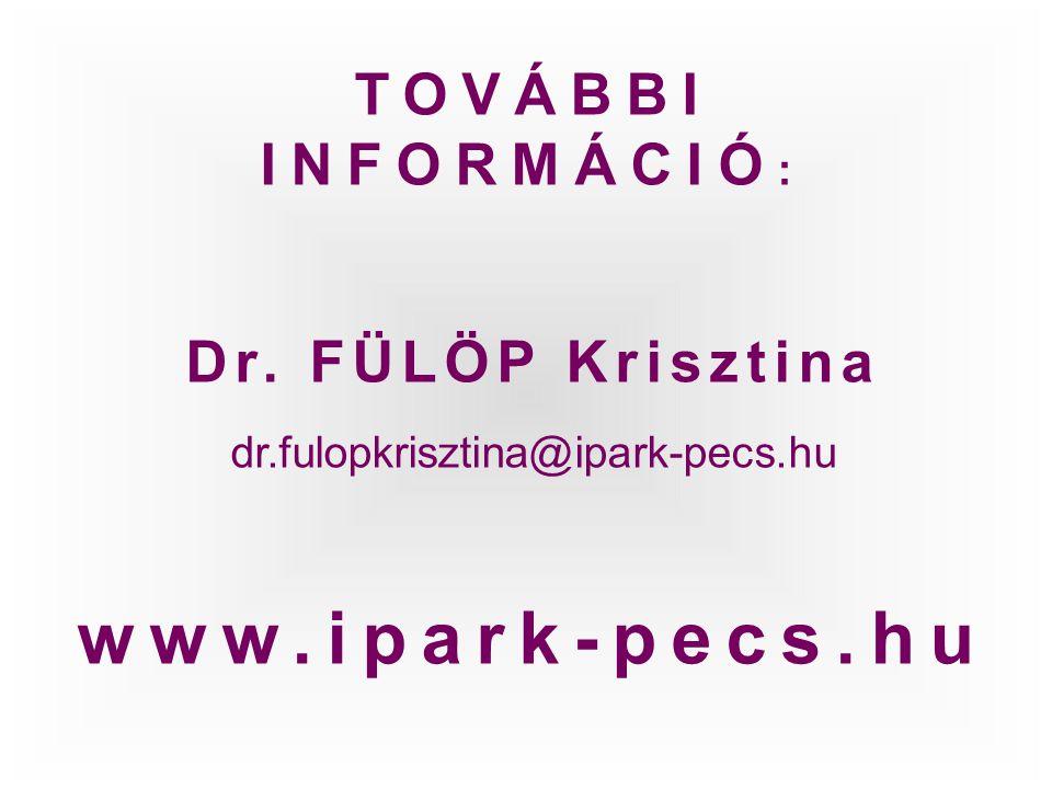 TOVÁBBI INFORMÁCIÓ : Dr. FÜLÖP Krisztina dr.fulopkrisztina@ipark-pecs.hu www.ipark-pecs.hu