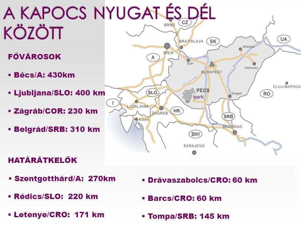 HATÁRÁTKELŐK  Szentgotthárd/A: 270km  Rédics/SLO: 220 km  Letenye/CRO: 171 km FŐVÁROSOK  Bécs/A: 430km  Ljubljana/SLO: 400 km  Zágráb/COR: 230 k