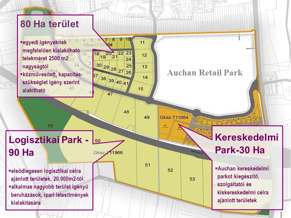 80 Ha terület  egyedi igényeknek megfelelően kialakítható telekméret 2500 m2 nagyságtól  közművesített, kapacitás- szükséglet igény szerint alakítha