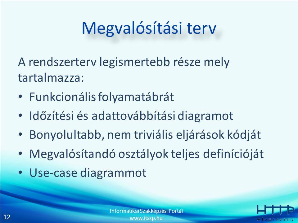 12 Informatikai Szakképzési Portál www.itszp.hu Megvalósítási terv A rendszerterv legismertebb része mely tartalmazza: • Funkcionális folyamatábrát •
