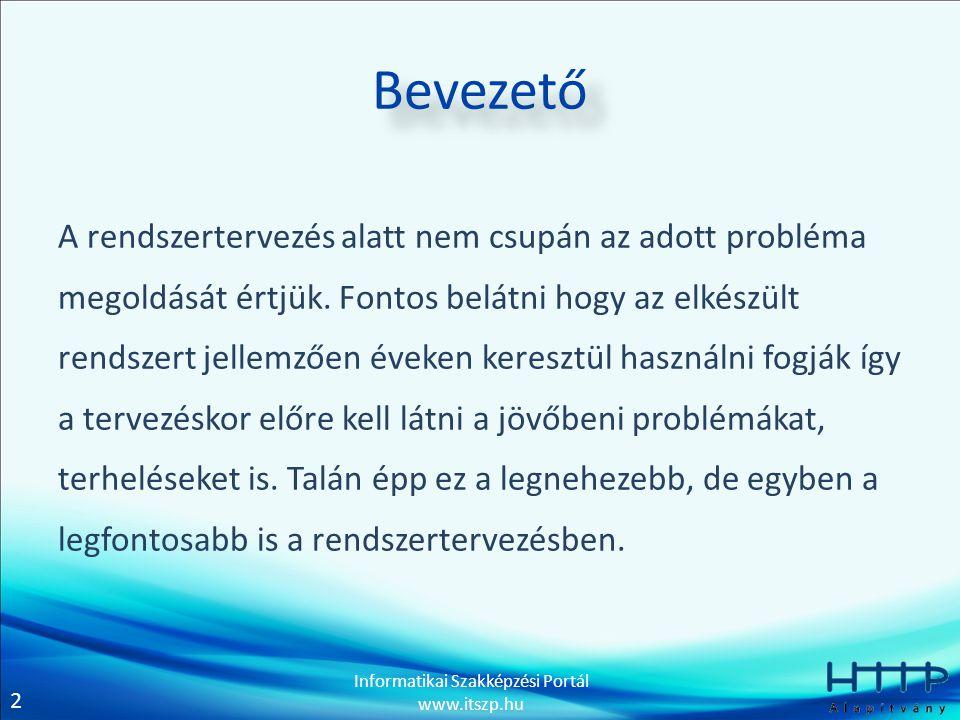 2 Informatikai Szakképzési Portál www.itszp.hu Bevezető A rendszertervezés alatt nem csupán az adott probléma megoldását értjük. Fontos belátni hogy a
