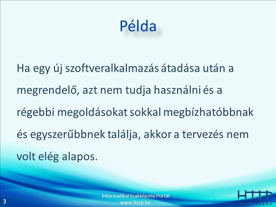 3 Informatikai Szakképzési Portál www.itszp.hu Példa Ha egy új szoftveralkalmazás átadása után a megrendelő, azt nem tudja használni és a régebbi mego