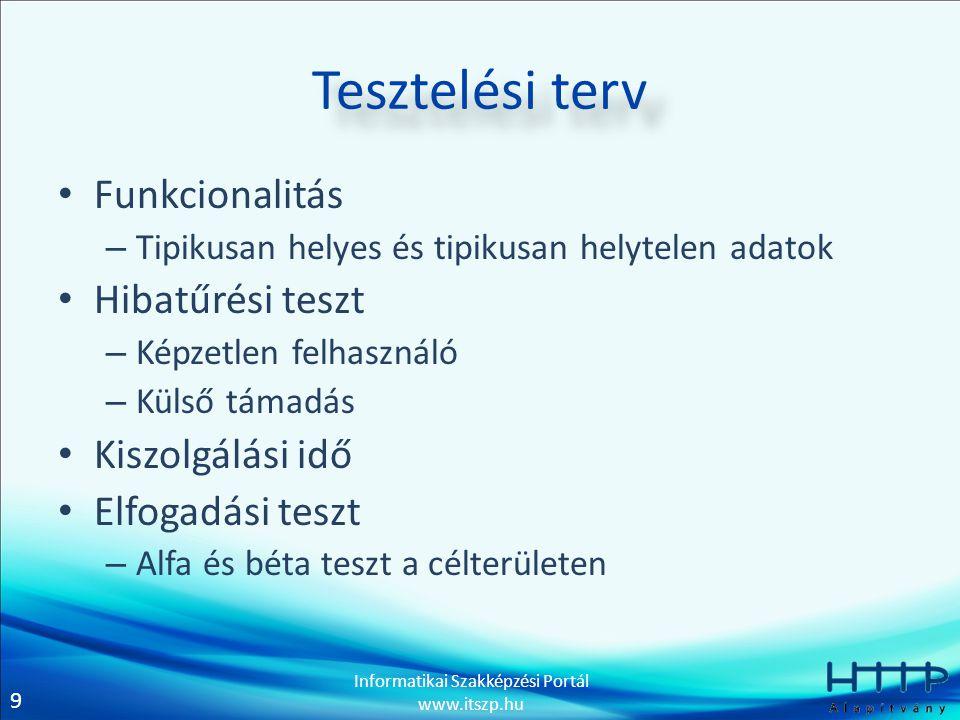 9 Informatikai Szakképzési Portál www.itszp.hu Tesztelési terv • Funkcionalitás – Tipikusan helyes és tipikusan helytelen adatok • Hibatűrési teszt –