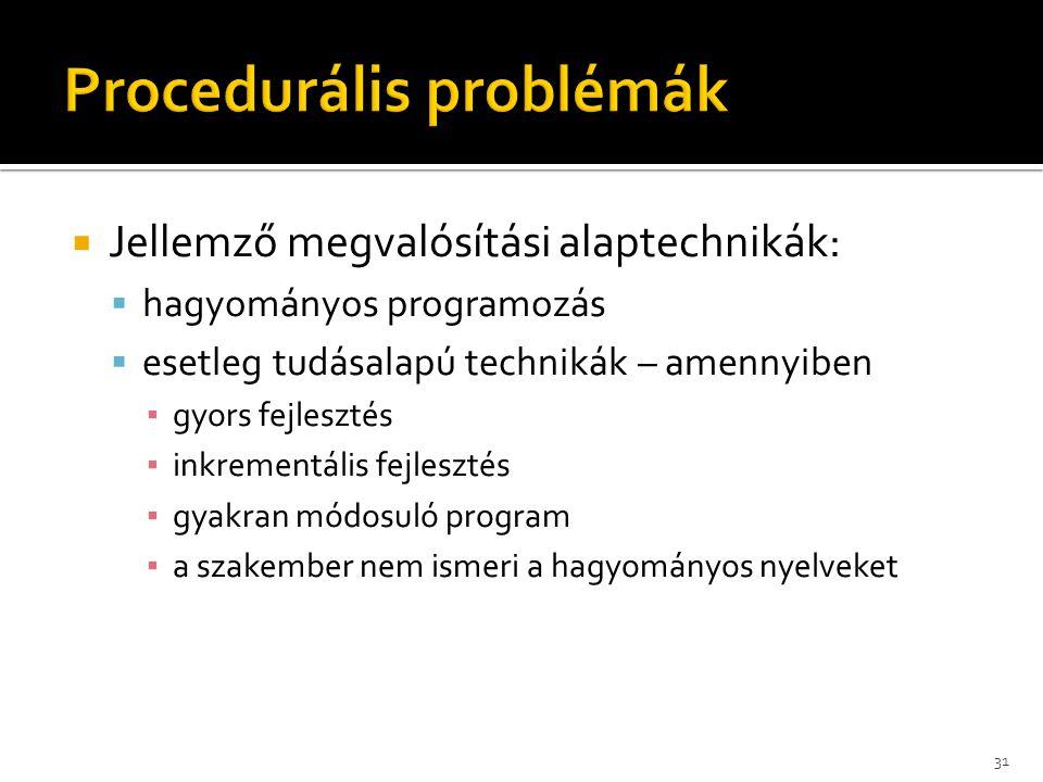  Jellemző megvalósítási alaptechnikák:  hagyományos programozás  esetleg tudásalapú technikák – amennyiben ▪ gyors fejlesztés ▪ inkrementális fejle