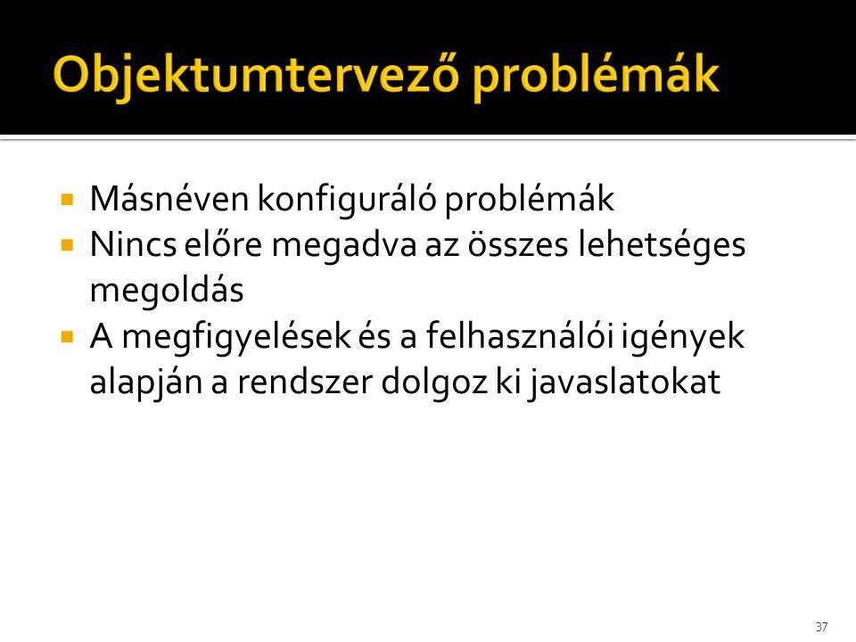  Másnéven konfiguráló problémák  Nincs előre megadva az összes lehetséges megoldás  A megfigyelések és a felhasználói igények alapján a rendszer do