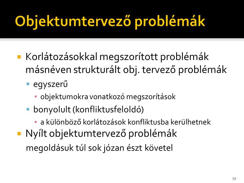  Korlátozásokkal megszorított problémák másnéven strukturált obj. tervező problémák  egyszerű ▪ objektumokra vonatkozó megszorítások  bonyolult (ko