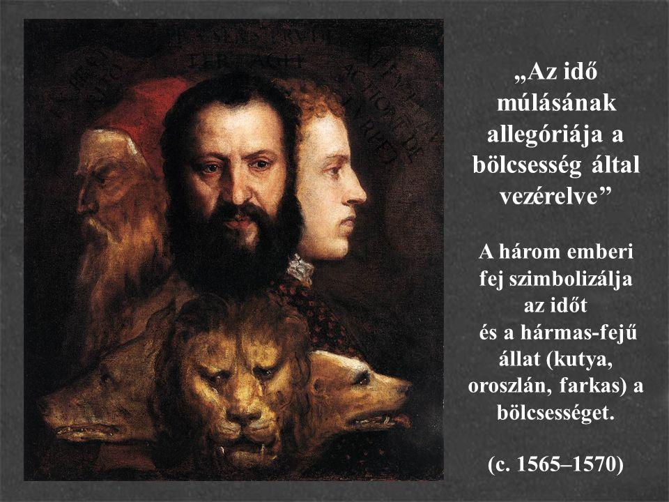 """""""Az idő múlásának allegóriája a bölcsesség által vezérelve'' A három emberi fej szimbolizálja az időt és a hármas-fejű állat (kutya, oroszlán, farkas) a bölcsességet."""