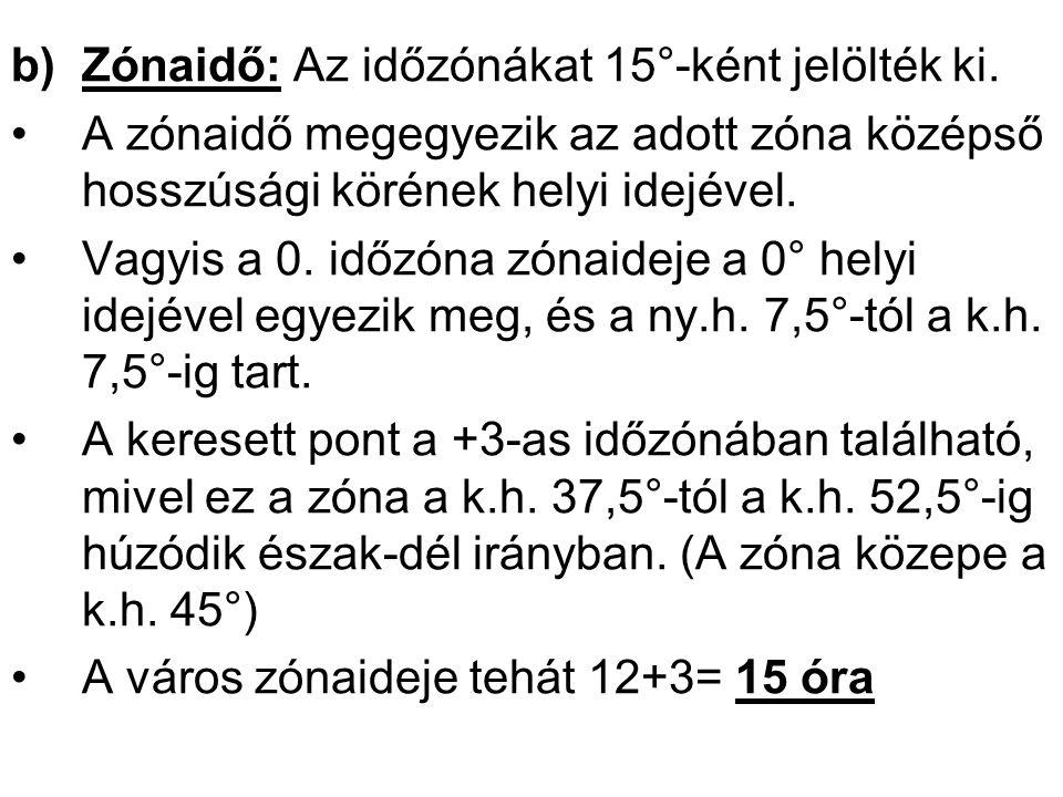b)Zónaidő: Az időzónákat 15°-ként jelölték ki.