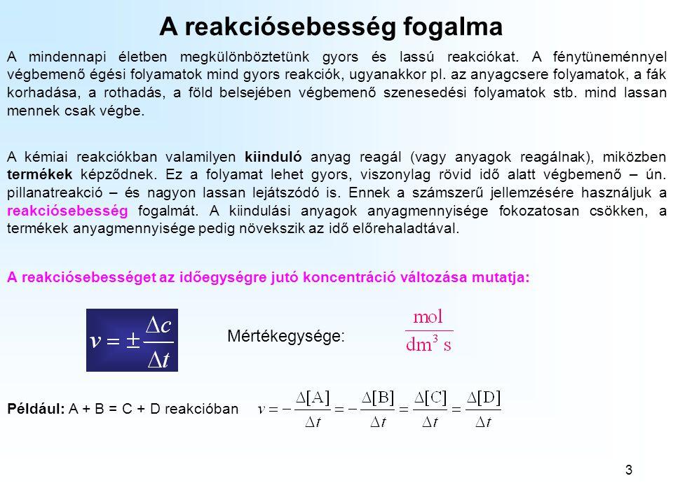 3 A reakciósebesség fogalma A mindennapi életben megkülönböztetünk gyors és lassú reakciókat.