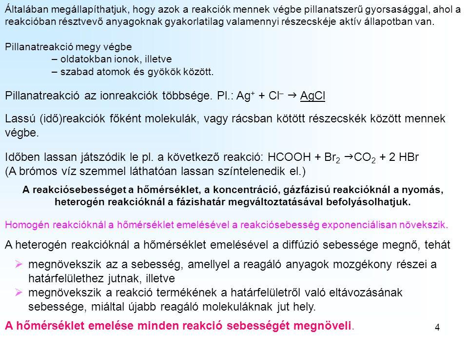 5 A pillanatnyi reakciósebesség és koncentráció között felírhatók a következő összefüggések: A pillanatnyi reakciósebesség számítása A + B  v = k·[A][B] H 2 + I 2  v = k·[H 2 ][I 2 ] 2 A + B  v = k·[A] 2 [B] 2 SO 2 + O 2  v = k·[SO 2 ] 2 [O 2 ] A + 3 B  v = k·[A][B] 3 N 2 + 3 H 2  v = k·[N 2 ][H 2 ] 3 Általában: aA + bB + cC  reakcióra: v = k·[A] a [B] b [C] c ahol k a reakciósebességi állandó, a szögletes zárójelbe írt képletek az anyagok anyagmennyiség-koncentrációi, a reakcióegyenlet együtthatója szerinti hatványon.