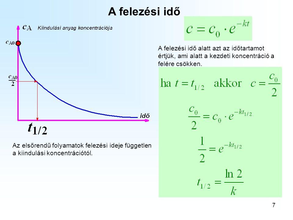 7 A felezési idő Az elsőrendű folyamatok felezési ideje független a kiindulási koncentrációtól.