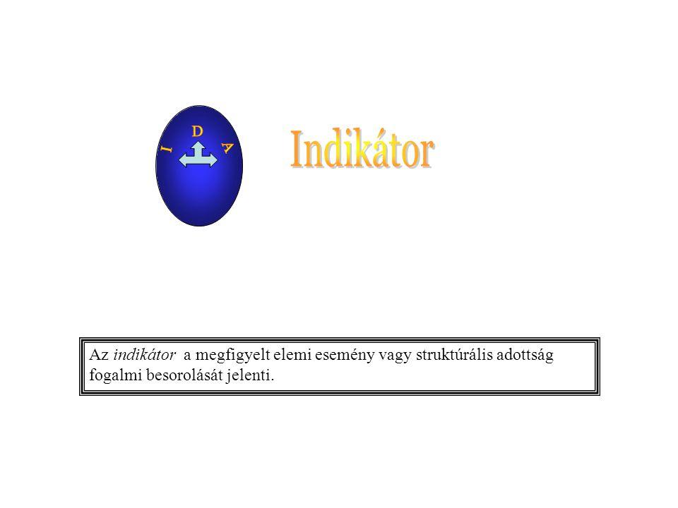 Az indikátor a megfigyelt elemi esemény vagy struktúrális adottság fogalmi besorolását jelenti.