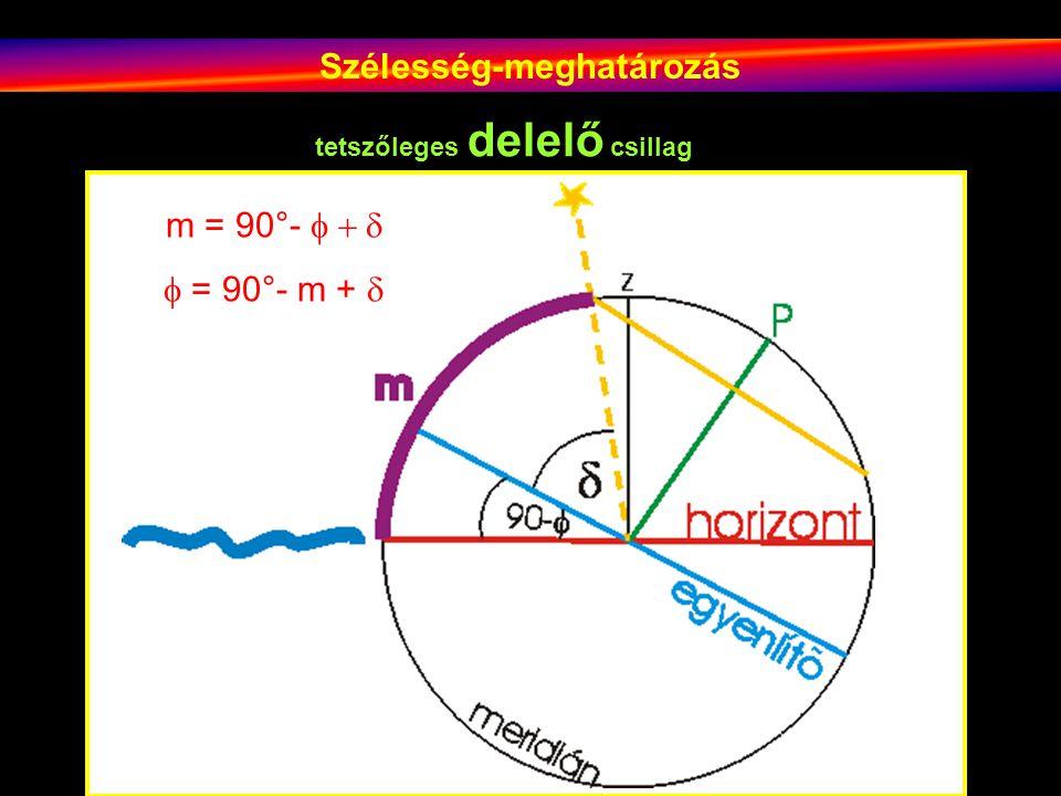 Szélesség-meghatározás tetszőleges delelő csillag m = 90°-   = 90°- m + 