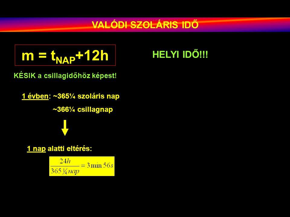 VALÓDI SZOLÁRIS IDŐ m = t NAP +12h KÉSIK a csillagidőhöz képest! 1 évben: ~365¼ szoláris nap ~366¼ csillagnap 1 nap alatti eltérés: HELYI IDŐ!!!