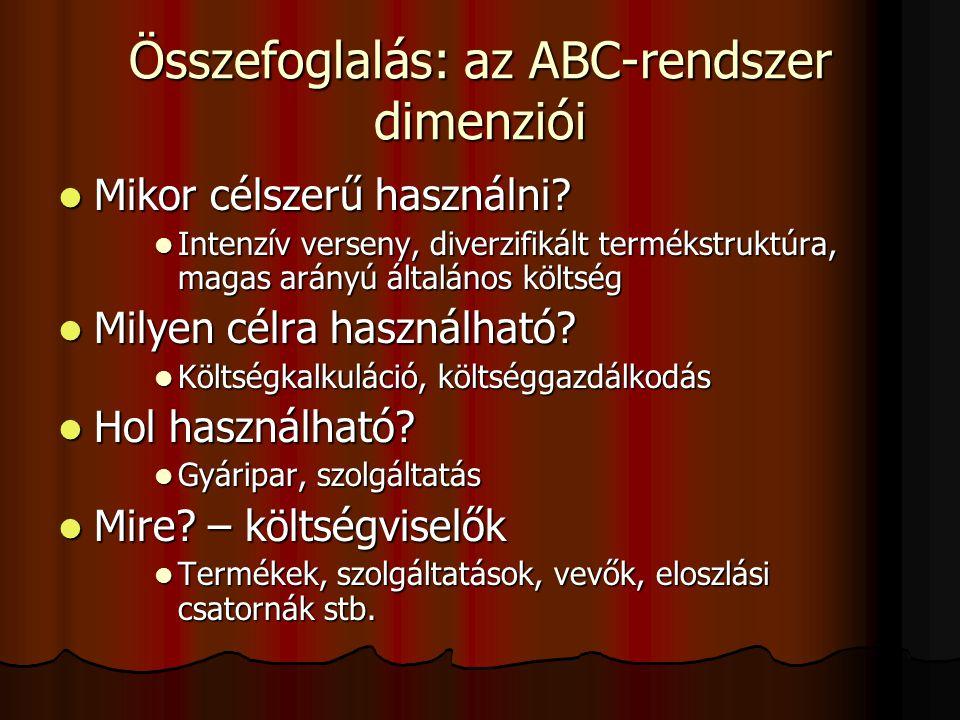 Összefoglalás: az ABC-rendszer dimenziói  Mikor célszerű használni?  Intenzív verseny, diverzifikált termékstruktúra, magas arányú általános költség
