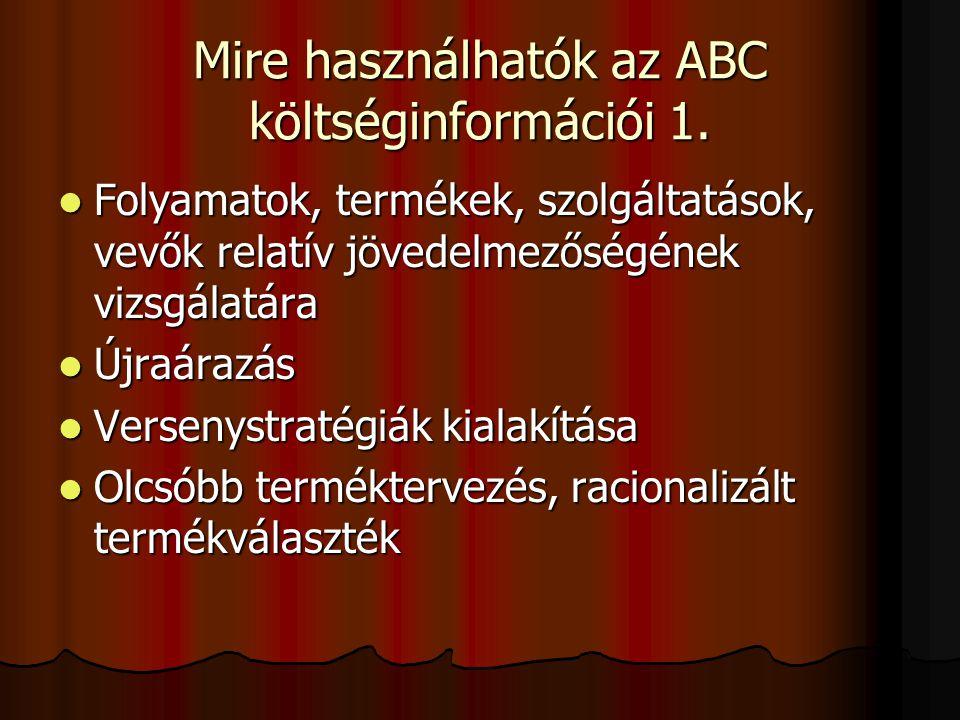 Mire használhatók az ABC költséginformációi 2.