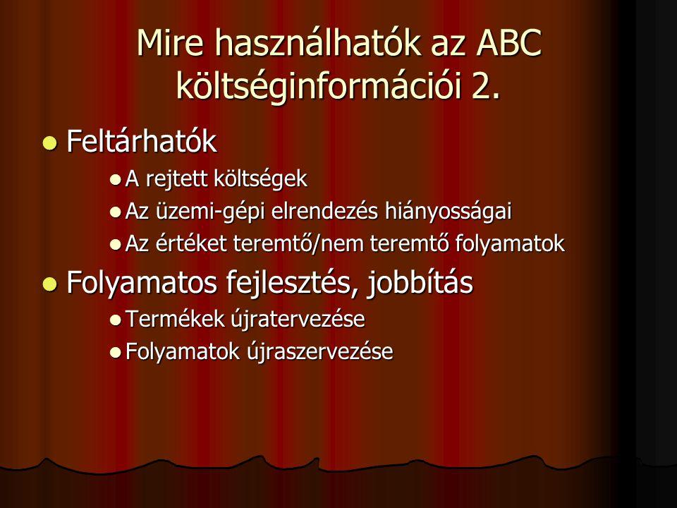Mire használhatók az ABC költséginformációi 2.  Feltárhatók  A rejtett költségek  Az üzemi-gépi elrendezés hiányosságai  Az értéket teremtő/nem te