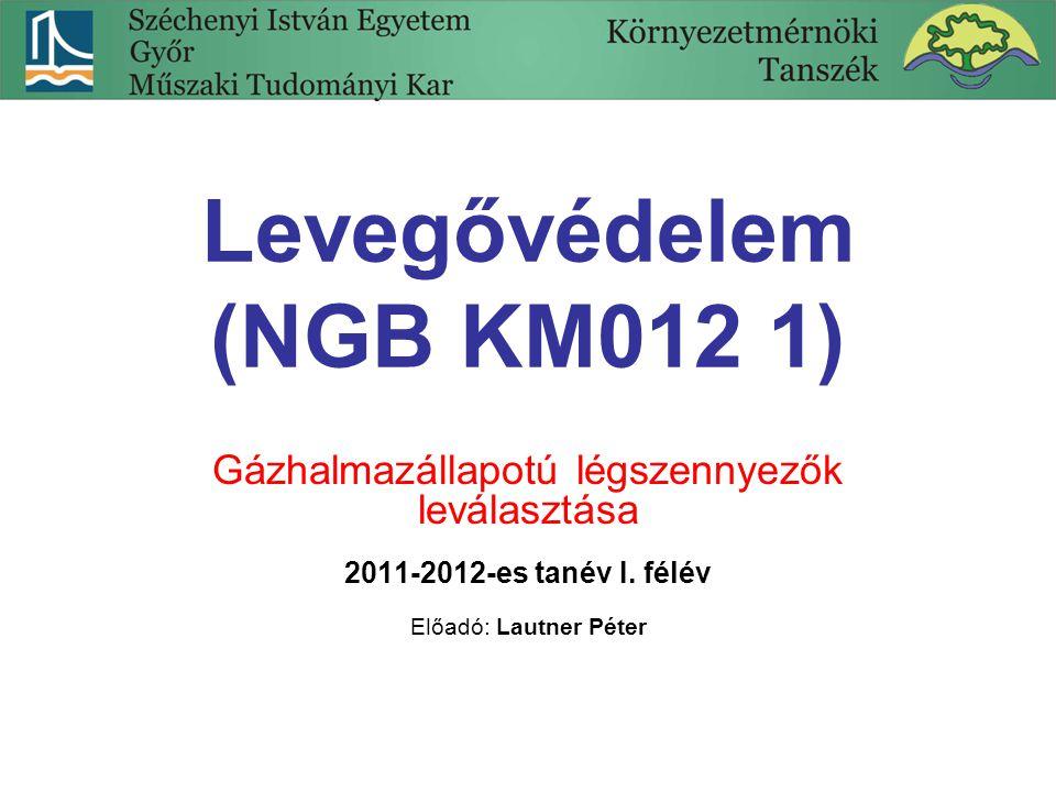 Levegővédelem (NGB KM012 1) Gázhalmazállapotú légszennyezők leválasztása 2011-2012-es tanév I. félév Előadó: Lautner Péter