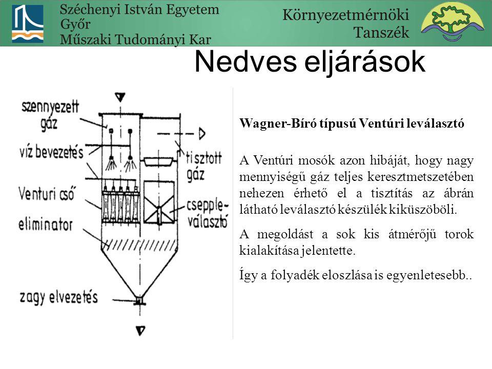 Nedves eljárások Wagner-Bíró típusú Ventúri leválasztó A Ventúri mosók azon hibáját, hogy nagy mennyiségű gáz teljes keresztmetszetében nehezen érhető el a tisztítás az ábrán látható leválasztó készülék kiküszöböli.