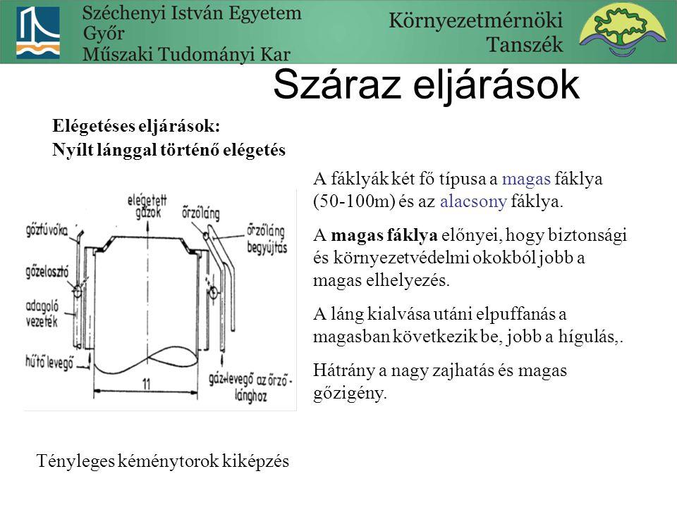 Száraz eljárások Elégetéses eljárások: Nyílt lánggal történő elégetés Tényleges kéménytorok kiképzés A fáklyák két fő típusa a magas fáklya (50-100m)