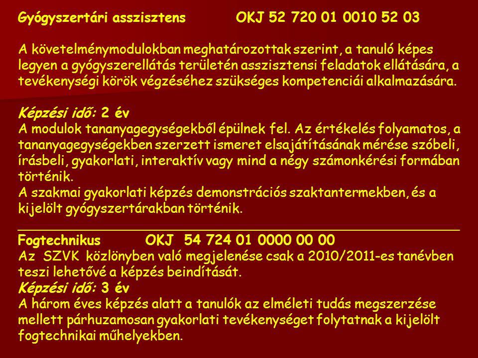 Gyógyszertári asszisztens OKJ 52 720 01 0010 52 03 A követelménymodulokban meghatározottak szerint, a tanuló képes legyen a gyógyszerellátás területén asszisztensi feladatok ellátására, a tevékenységi körök végzéséhez szükséges kompetenciái alkalmazására.