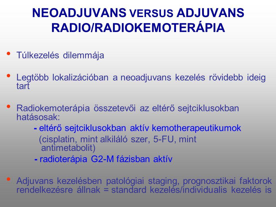 NEOADJUVANS VERSUS ADJUVANS RADIO/RADIOKEMOTERÁPIA • Túlkezelés dilemmája • Legtöbb lokalizációban a neoadjuvans kezelés rövidebb ideig tart • Radiokemoterápia összetevői az eltérő sejtciklusokban hatásosak: - eltérő sejtciklusokban aktív kemotherapeutikumok (cisplatin, mint alkiláló szer, 5-FU, mint antimetabolit) - radioterápia G2-M fázisban aktív • Adjuvans kezelésben patológiai staging, prognosztikai faktorok rendelkezésre állnak = standard kezelés/individualis kezelés is