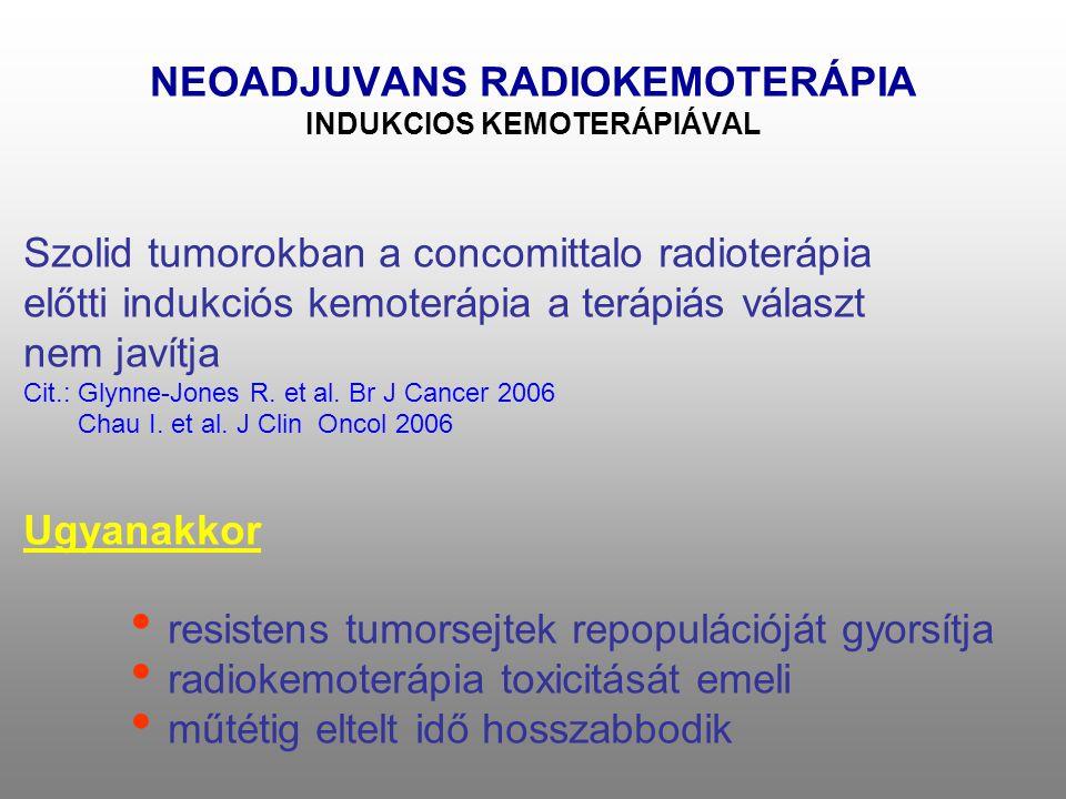 NEOADJUVANS RADIOKEMOTERÁPIA INDUKCIOS KEMOTERÁPIÁVAL Szolid tumorokban a concomittalo radioterápia előtti indukciós kemoterápia a terápiás választ nem javítja Cit.: Glynne-Jones R.