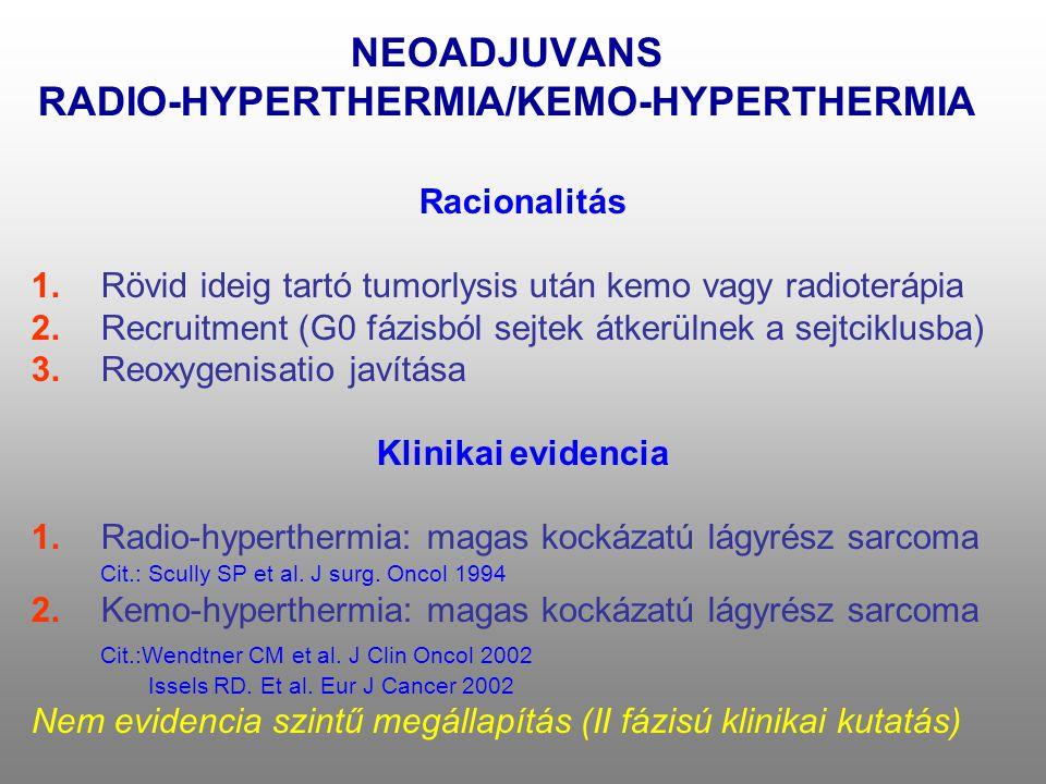 NEOADJUVANS RADIO-HYPERTHERMIA/KEMO-HYPERTHERMIA Racionalitás 1.Rövid ideig tartó tumorlysis után kemo vagy radioterápia 2.Recruitment (G0 fázisból se