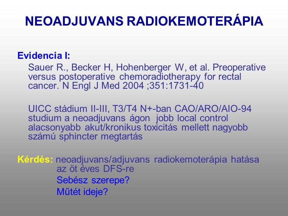 NEOADJUVANS RADIOKEMOTERÁPIA Evidencia I: Sauer R., Becker H, Hohenberger W, et al. Preoperative versus postoperative chemoradiotherapy for rectal can