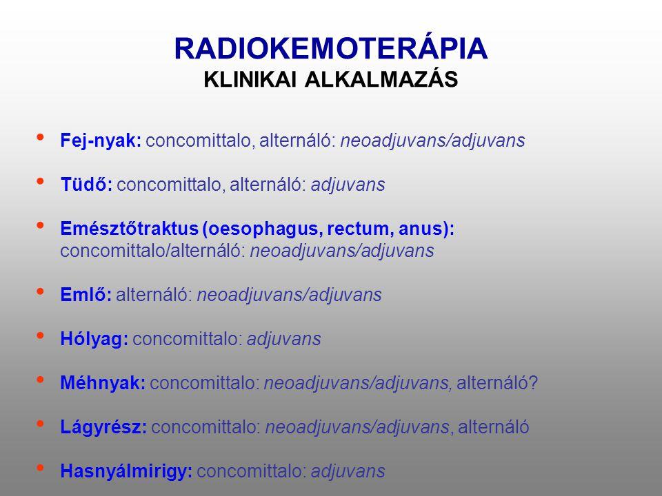 RADIOKEMOTERÁPIA KLINIKAI ALKALMAZÁS • Fej-nyak: concomittalo, alternáló: neoadjuvans/adjuvans • Tüdő: concomittalo, alternáló: adjuvans • Emésztőtrak