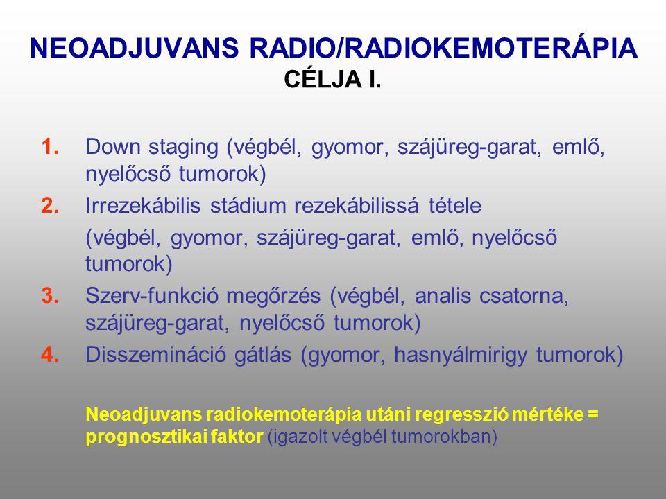 NEOADJUVANS RADIO/RADIOKEMOTERÁPIA CÉLJA I. 1.Down staging (végbél, gyomor, szájüreg-garat, emlő, nyelőcső tumorok) 2.Irrezekábilis stádium rezekábili