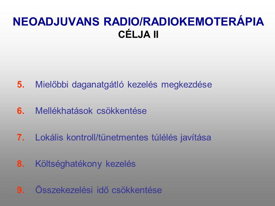 NEOADJUVANS RADIO/RADIOKEMOTERÁPIA CÉLJA II 5.Mielőbbi daganatgátló kezelés megkezdése 6.Mellékhatások csökkentése 7.Lokális kontroll/tünetmentes túlélés javítása 8.Költséghatékony kezelés 9.Összekezelési idő csökkentése