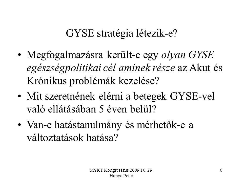 MSKT Kongresszus 2009.10. 29. Hanga Péter 6 GYSE stratégia létezik-e.