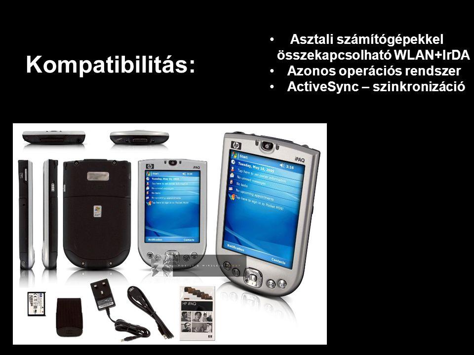 Kompatibilitás: • Asztali számítógépekkel összekapcsolható WLAN+IrDA •A•Azonos operációs rendszer •A•ActiveSync – szinkronizáció