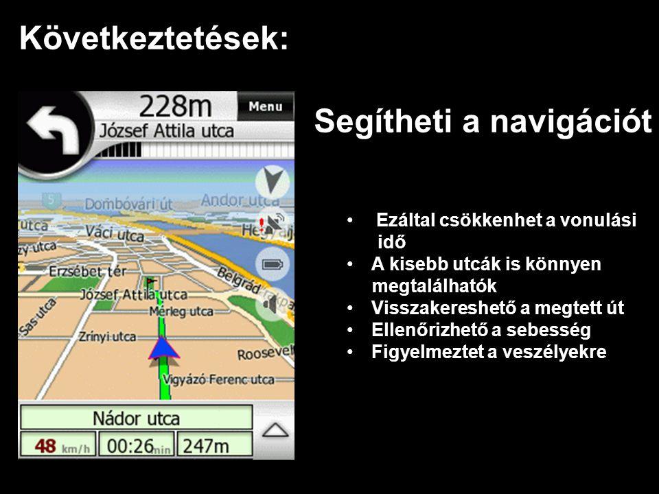 Következtetések: Segítheti a navigációt • Ezáltal csökkenhet a vonulási idő •A•A kisebb utcák is könnyen megtalálhatók •V•Visszakereshető a megtett út •E•Ellenőrizhető a sebesség •F•Figyelmeztet a veszélyekre