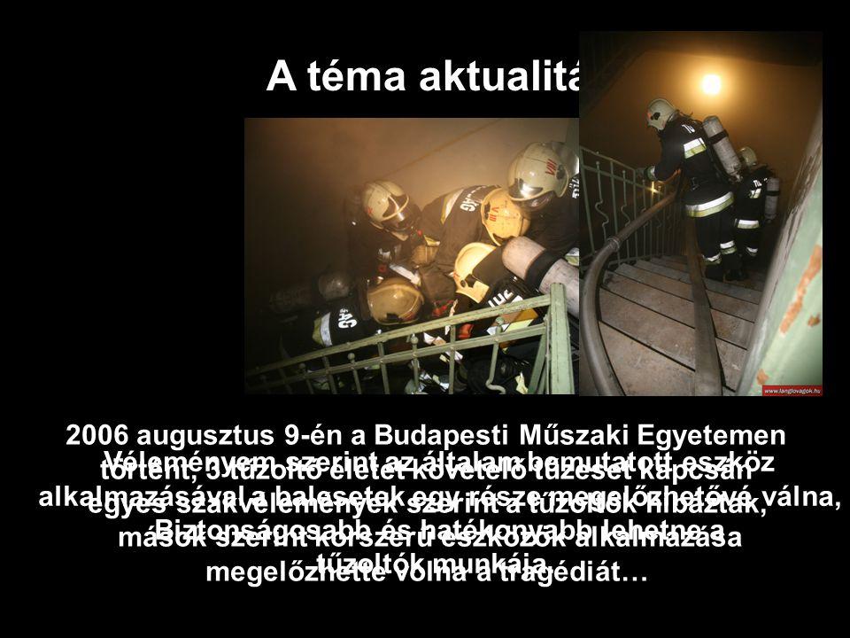 2006 augusztus 9-én a Budapesti Műszaki Egyetemen történt, 3 tűzoltó életét követelő tűzeset kapcsán egyes szakvélemények szerint a tűzoltók hibáztak, mások szerint korszerű eszközök alkalmazása megelőzhette volna a tragédiát… A téma aktualitása Véleményem szerint az általam bemutatott eszköz alkalmazásával a balesetek egy része megelőzhetővé válna, Biztonságosabb és hatékonyabb lehetne a tűzoltók munkája.