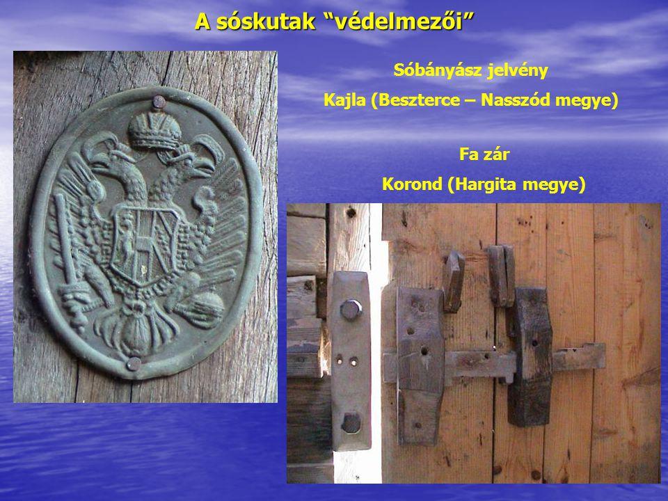 """A sóskutak """"védelmezői"""" Sóbányász jelvény Kajla (Beszterce – Nasszód megye) Fa zár Korond (Hargita megye)"""