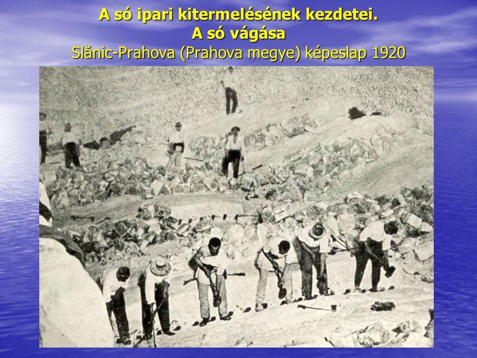A só ipari kitermelésének kezdetei. A só vágása Slănic-Prahova (Prahova megye) képeslap 1920