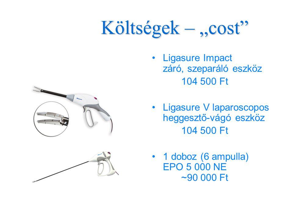 """Költségek – """"cost •Ligasure Impact záró, szeparáló eszköz 104 500 Ft •Ligasure V laparoscopos heggesztő-vágó eszköz 104 500 Ft •1 doboz (6 ampulla) EPO 5 000 NE ~90 000 Ft"""