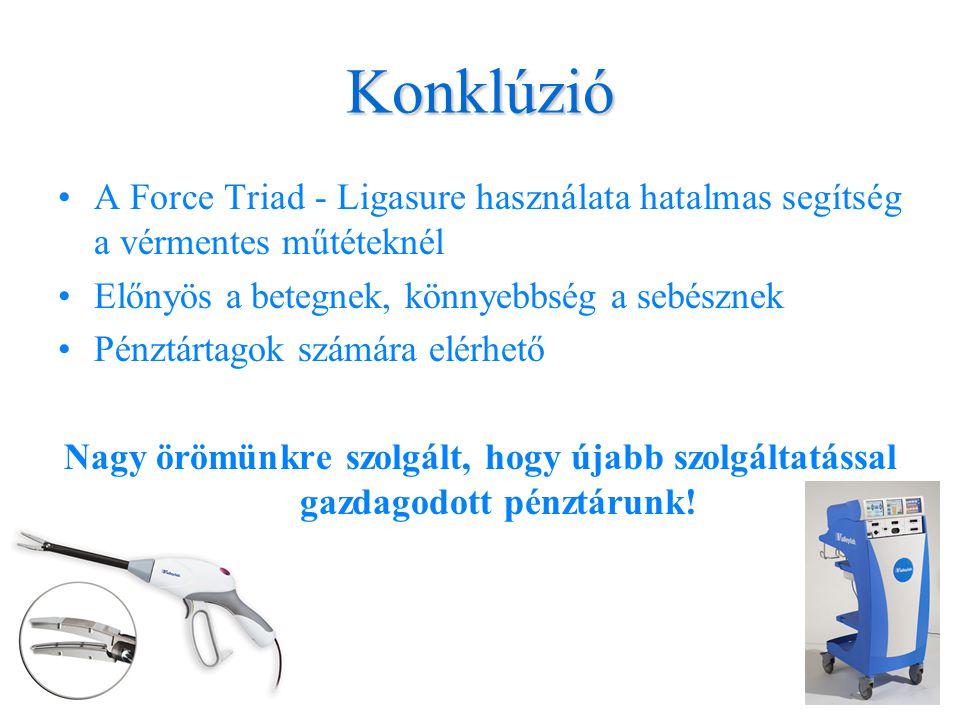 Konklúzió •A Force Triad - Ligasure használata hatalmas segítség a vérmentes műtéteknél •Előnyös a betegnek, könnyebbség a sebésznek •Pénztártagok szá