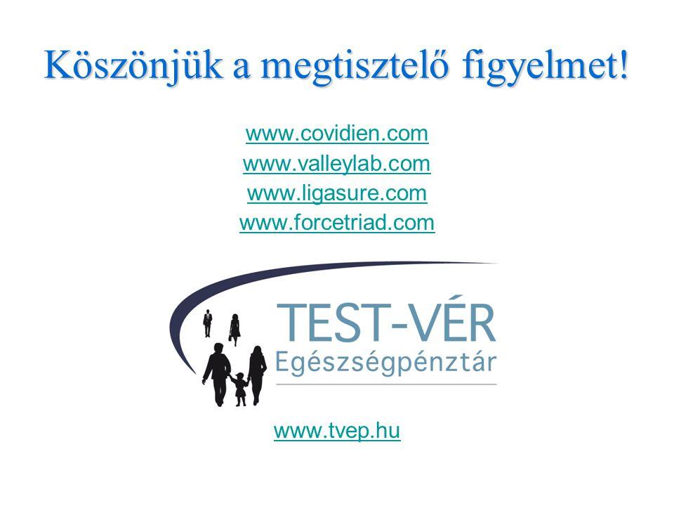 Köszönjük a megtisztelő figyelmet! www.covidien.com www.valleylab.com www.ligasure.com www.forcetriad.com www.tvep.hu