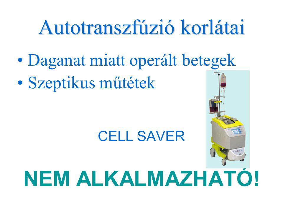 Autotranszfúzió korlátai •Daganat miatt operált betegek •Szeptikus műtétek CELL SAVER NEM ALKALMAZHATÓ!